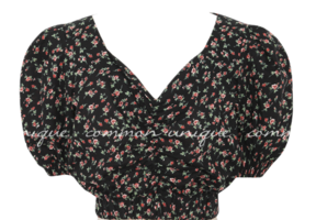 FLOWER PUFF CROP 1/2 BLOUSE