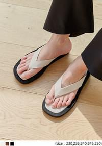 Wide Thong Strap Slippers