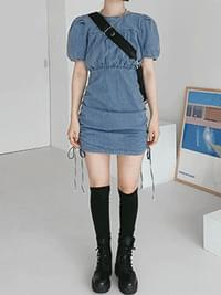 Shirring Mammal Mini Dress dresses