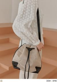 REVO LINEN LEATHER BUCKET BAG