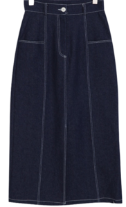 Stitched denim long skirt