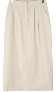 Cotton pin tuck H line skirt