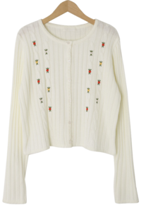 Vintage embroidered ribbed cardigan カーディガン & ベスト
