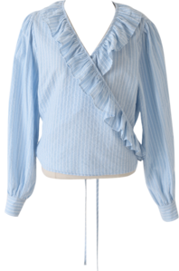 Striped frill wrap blouse
