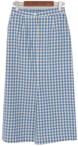 Gingham check H line long skirt
