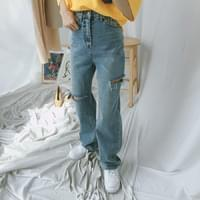7528 cutting wide straight denim pants