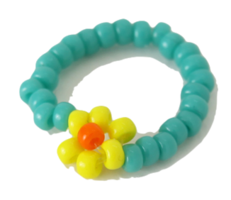 Color Bead Flower Ring