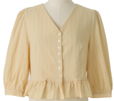Frill crop puff blouse
