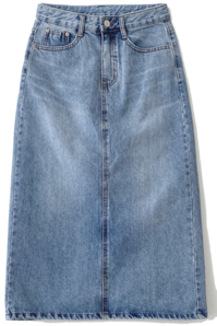 Let's denim long skirt