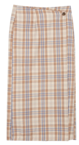 ESSAYStraight Cut Check Wrap Skirt