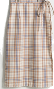 Spring check midi wrap skirt