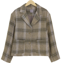 Linen check mini single jacket