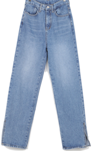 Natural washed slit denim pants
