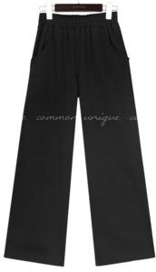 LUSE BANDING WIDE COTTON PANTS
