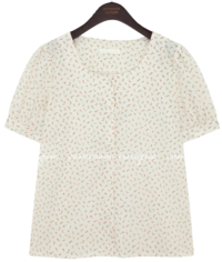 ANGE FLOWER COTTON 1/2 BLOUSE