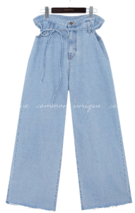 STRAP CUTTING WIDE DENIM PANTS