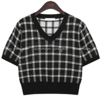 MONT CHECK V NECK 1/2 KNIT