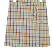 RORO WRAP BUTTON CHECK MINI SKIRT