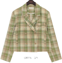 AQUA CHECK DOUBLE JACKET