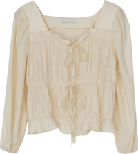 Square Neck Ribbon Shirring Blouse