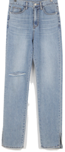 Damage slit denim pants