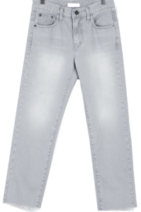 Gray-cut slim denim pants