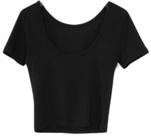 back oval-neck slim tee (4colors)