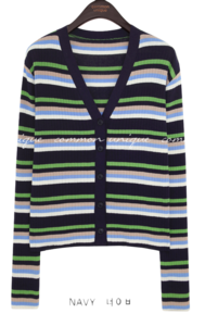 OLLIS STRIPE V NECK KNIT CARDIGAN