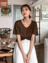 U Neck Loose Fit Linen Tee
