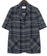 LOG WOOL CHECK 1/2 JACKET
