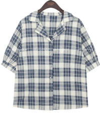 MOY CHECK WRAP BUTTON 1/2 BLOUSE