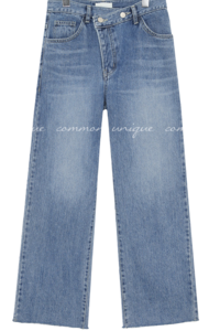 BEKI UNBAL BUTTON DENIM PANTS