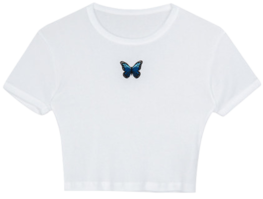 Butterfly embroidery short sleeve