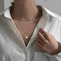 Cross-line neck coin layered necklace