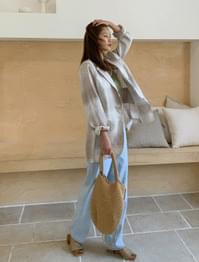 Two Tone Check Loose Fit Linen Jacket