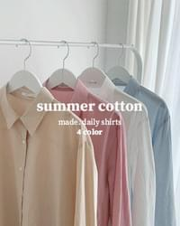Ice Summer Loose Fit Cotton Shirt-Ivory, Beige, Pink