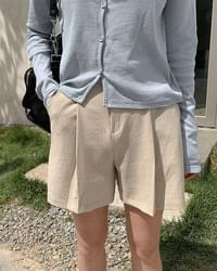 Linen Pintuck 4 Shorts-2color