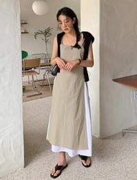 Linen Ribbon Layered Long Dress dresses