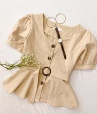 Belt flare blouse