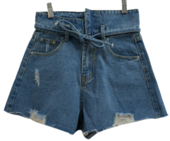 Uncut Ribbon Denim Short Pants
