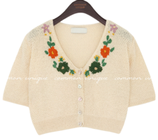 HEDDA FLOWER 1/2 KNIT CARDIGAN