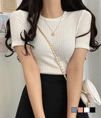 Fluffy ribbed knit T-shirt
