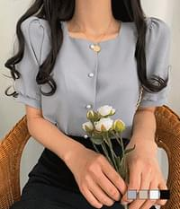 Blind date pearl short sleeve blouse
