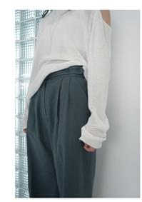 waist button linen pants