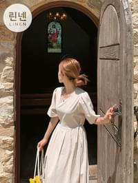 Linen Marine Flare Long Dress