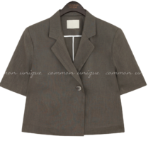 DIAN LINEN ONE BUTTON 1/2 JACKET