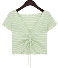 LANDY STRING STRIPE CROP 1/2 T