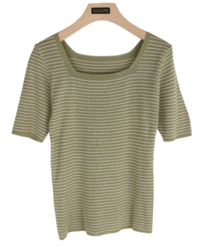 Square striped t-shirt