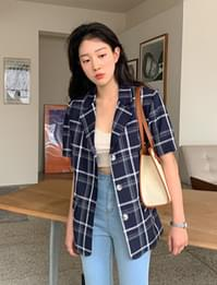 Molly Linen Check Short Sleeve Jacket
