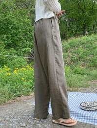 Natural string wide linen pants